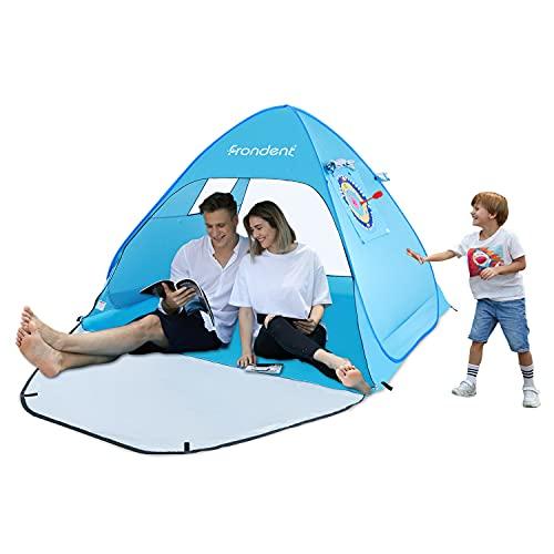 Pop Up Strandmuschel Kinder Baby Strandzelt UV Schutz für 2-3 Personen XXL mit Ausziehbarer Boden Extra Leicht Wurfzelt Windschutz am Strandinkl Einschließlich Tragetasche Strand Garten Camping (Blau)