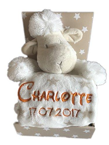 Babydecke mit Name & Geburtsdatum bestickt inkl. Plüsch Stofftier - Geschenk Taufe Geburt (Beige/Weiss - SCHAF)