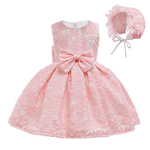 FONLAM Vestido de Bautizo para Bebé Niña Vestido Princesa Fiesta Cumpleaños Ceremonia Encaje Bebé (Rosa, 18-24 Meses)
