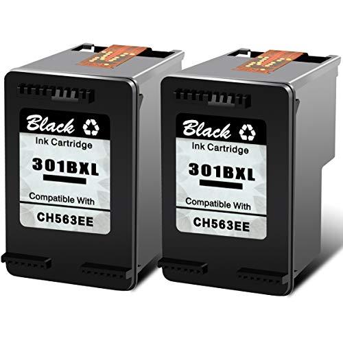 Nineleaf 301XL - Cartucho de tinta compatible con impresoras HP D1000 1050 1051 1055 1056 2050 2000 2510 2512 -B Deskjet 1000 2050 3050se 2050A, color negro 301 XL