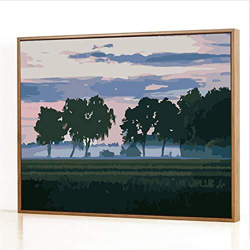 Diy Digitale Olieverfschilderij,Bomen in de mist Schilderen Door Cijfers,Linnen Canvas ,Foto Voor Binnendecoratie - 40x50cm(Fotolijst)