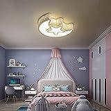 OKES Modern LED Flush Mount Ceiling Light Chandeliers Moon Star Shape Lighting Close to Ceiling Lighting Fixture for Childrens Room Bedroom Study Room