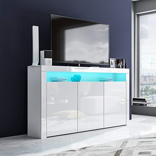 UNDRANDED 152cm LED TV Lowboard mit 3 Türen Fernsehtisch Unterschrank Anrichte Kommode Hochglanz & Holz (Weiß)