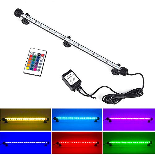LED Aquarium Light, Fish Tank Lights Waterproof RGB Color Change Lighting Underwater Submersible LED Lighting Strip Background Decrate Light -15'