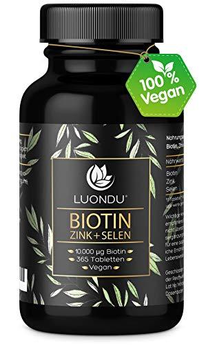 Luondu Biotin hochdosiert 10.000 mcg pro Tablette (365 vegane Tabletten für 1 Jahr) Angereichert mit Selen und Zink für Haarwuchs, Haut & Nägel I Ohne Zusätze, Hergestellt in Deutschland
