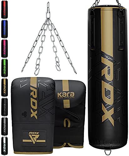 RDX Sac de Frappe 4ft 5ft et Gants Kit pour Boxe D'entraînement, Rempli Kara Lourd Bag avec Chaine pour Muay Thaï, MMA, Arts Martiaux, Sparring, Kickboxing, Punching Bag