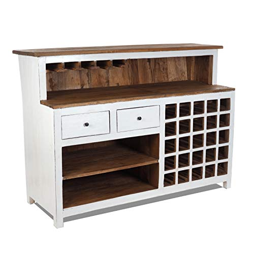 Vintage Design BARKAST Purewood | 150x110x55 cm (BxHxD) | Shabby Minibar, bar bar bar gemaakt van oud hout | verkoopbalie, kassa, cult decoratieobject | kleur: 06 wit-landhuis