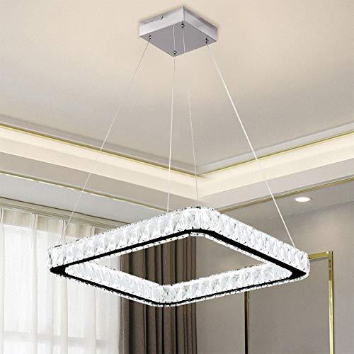 Ganeed Modern Chandeliers,K9 Crystal Chandelier,6500K Square LED Pendant Lighting,1 Ring Adjustable Height Hanging Light Fxitures for Living Dining Room Restaurant Bedroom(Dia 19.6')