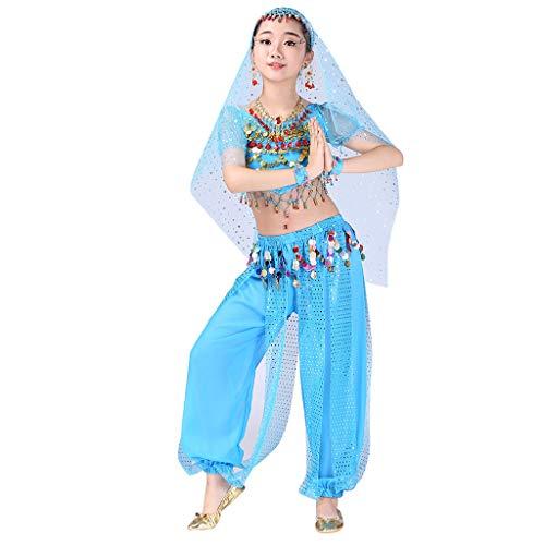 YWLINK Traje De Rendimiento, NiñAs India Danza del Vientre Danza Egipcia Traje Manga Corta Pantalones De Baile Conjunto De 2 Piezas Traje De Baile Vestido De Fiesta(Azul,10-12 años/XL)