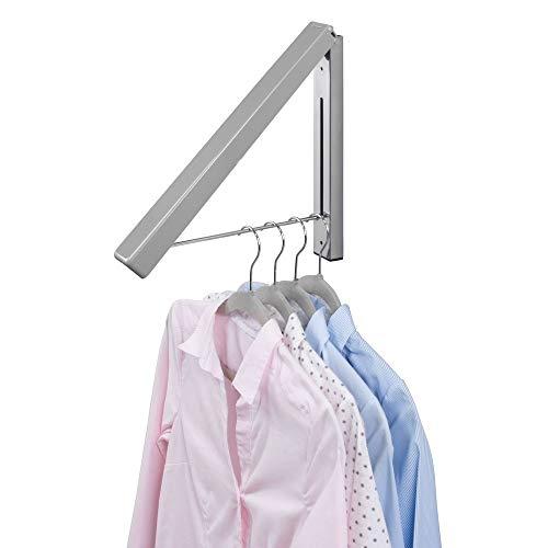 mDesign - Inklapbare kapstok - voor kledinghangers/voor het hangend laten drogen van kleding/kleine kledingrail - wandmodel/duurzaam/metaal - Grijs