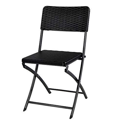 FYLYHWY Juego de 2 sillas de jardín de Resina Negro de Mimbre...