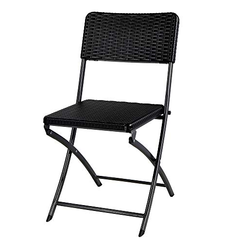 FYLYHWY Juego de 2 sillas de jardín de Resina Negro de Mimbre Plegable