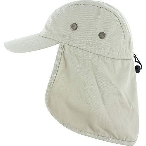 DealStock Fishing Cap with Ear and Neck Flap Cover - Outdoor Sun Protection, Beige, One Size