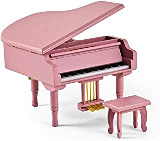 Adorable Pink Baby Grand Piano Music Jewelry Box with Bench - Over 400 Song Choices - Hush Little Baby