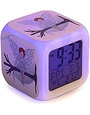 Hada Despertador infantil digital, reloj niños y niñas para dormir, con luces led de 7 colores,8 melodías de alarma. Con cable USB incluido. Pantalla LCD de tamaño cuadrado. 8x8x8 cm.
