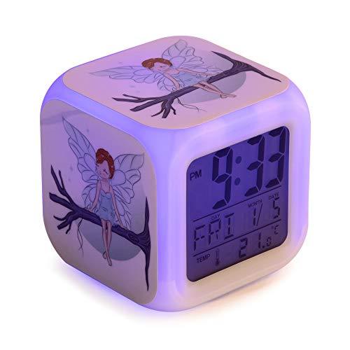 Fata Sveglia digitale per bambini e bambine per dormire, con luci LED a 7 colori, 8 melodie di allarme, cavo USB incluso, schermo LCD di dimensioni quadrate, 8 x 8 x 8 cm.