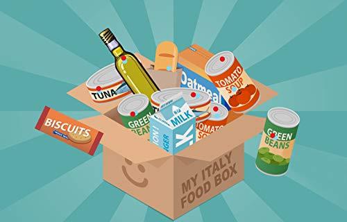 Pacco Spesa My Italy Food Box Con Prodotti Alimentari Biscotti Latte Uht Pasta Sugo Pronto Fagioli In Scatola Tonno Sale Farina Olio Di Oliva Passata Di Pomodori Totale Da 17 A 22 Pz (Spesa)