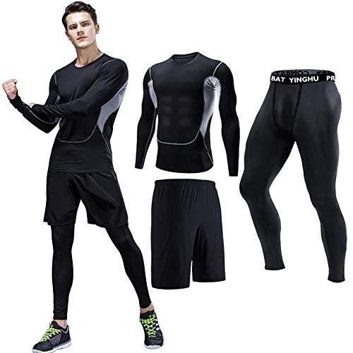 Lachi Juego de ropa interior de compresión para hombre, juego de pantalones cortos de fitness con capas base de mallas 3/5 unids conjunto de compresión deportiva ciclismo legging corto top