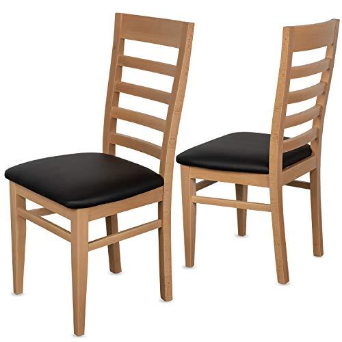 Staboos 2er Set Esszimmerstühle Leder CH62 - Stuhlset bestehend aus 2 Stühlen - Polsterstuhl bis 150 kg - Holzstuhl gepolstert (Natur - schwarz)