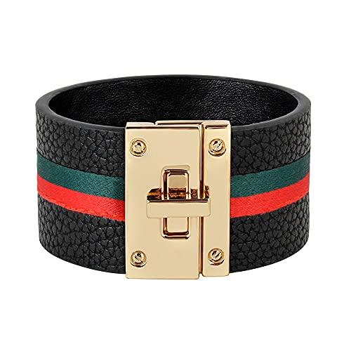 Pulseras de cuero con puños para mujer, brazaletes de cinta verde roja, diseño de bloqueo de acero simple, pulseras con dijes anchos, joyería femenina punk