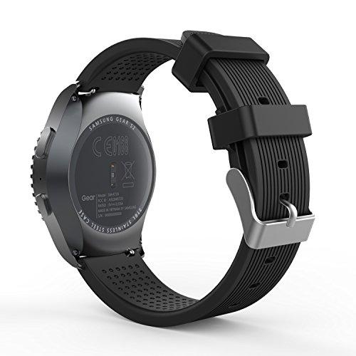 MoKo 20mm Cinturino per Galaxy Watch 3 41mm Galaxy Watch 42mm Galaxy Watch Active Active 2 Gear S2 Classic Garmin Vivoactive 3 Ticwatch E, Morbido Braccialetto Sportivo di Ricambio in Silicone, Nero