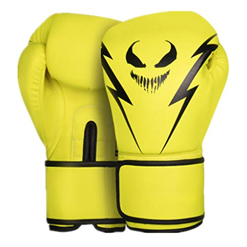 EVFIT Herren Boxhandschuhe Monster Muster Boxhandschuhe Boxen MMA Boxsack Trainings Mitts 4 Farben Optional (Color : Yellow, Size : 10oz)