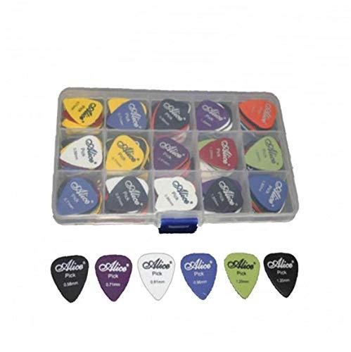 100pcs Selecciones De La Guitarra Acústica De La Guitarra Eléctrica Púas De Guitarra Accesorios Varios 6 Espesor con Caja Color Azar