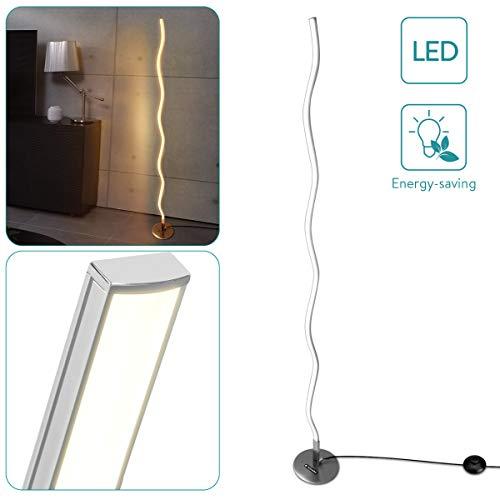 Navaris Designer LED Stehleuchte wellenförmig - warmweiß - 18W - 120 x 1,7 x 0,7cm - Aluminium Standleuchte Leselampe geschwungen mit Fußschalter