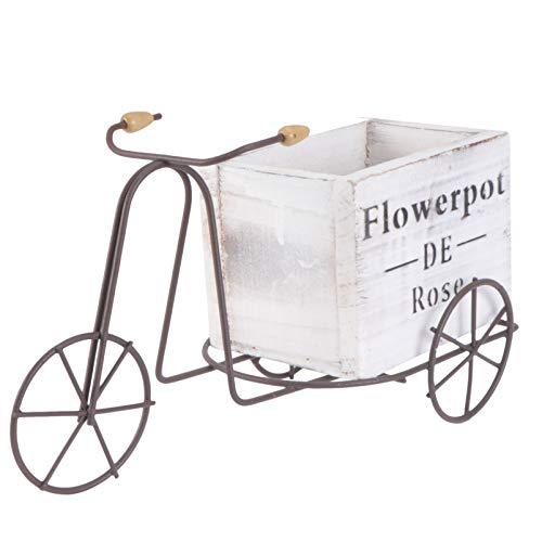 Cabilock Bicicleta Maceta de Flores Macetas de Patio Rústicas Macetas para Plantas Jardín Decoración de Interiores Al Aire Libre (Blanco Tamaño Pequeño Estilo Aleatorio)