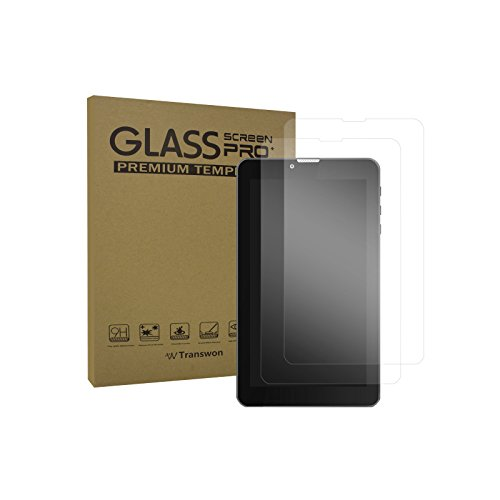 Transwon 2 Pack Tempered Glass Screen Protector for Yuntab E706 7 Inch Tablet, inDigi Phablet 7 Inch, inDigi G4i, indigi 7.0 4G LTE Phablet, indigi LTE 7 In Android 9 Smart Phone