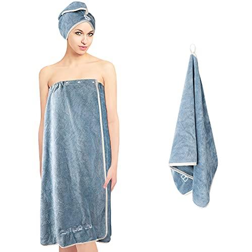 3PCS Saunakilt Damen Gummizug, Upkey Saunatuch 75 x 150cm Badetücher verstellbare elastische Jumbo-Handtuchverpackung für Frauen mit Druckknopfverschluss schnell trocknende Haartuchverpackung (BLAU)
