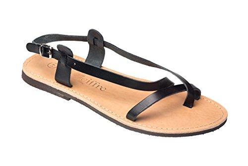 Damen und Herren Riemchen Echt Leder Sandale Sandalette Schwarz 42