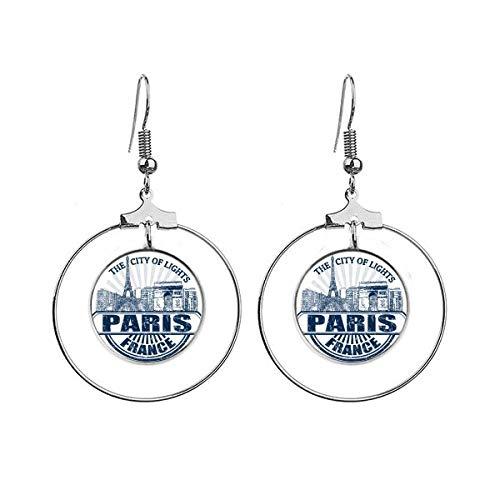 Parijs Frankrijk Vlag Eiffeltoren Architectuur Oorbellen Dangle Hoop Sieraden Drop Cirkel