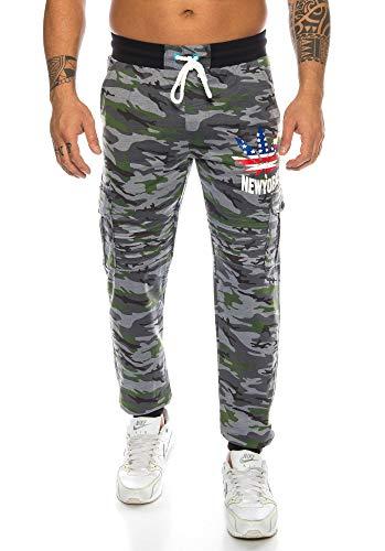 Raff&Taff Herren Sportwear Sporthose Cannabis Joggingshose Camouflage Bundeswehr Hose Tarnhose Cargohose Biker Hose Amerika (Black, XXL) (M, Grau(1027))