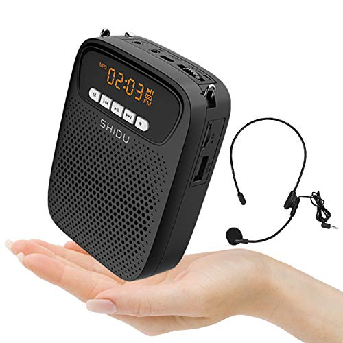 SHIDU S278 15W Lightweight Portable Rechargeable Mini Voice Amplifier with Headset Microphone Supports Bluetooth/Recording/FM Radio/MP3 for Teachers, Tour Guides and More