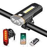 N/K Luz Bicicleta, Luces Bici Delantera y Trasera Faro LED USB Recargable, Potente Linterna 4000 mAh 1000 Lumen Superbrillante IPX5 Impermeable 5 Modos, Iluminación de Cola y Destornillador Incluido