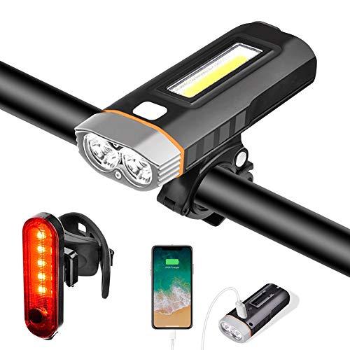 Cykelbelysning cykel, cykelset berg MTB väg USB laddningsbar, LED-powerbank främre strålkastare 4 000 mAh IPX5 vattentät 5 lägen 1 000 lumen, bakre bakljus och skruvmejsel ingår