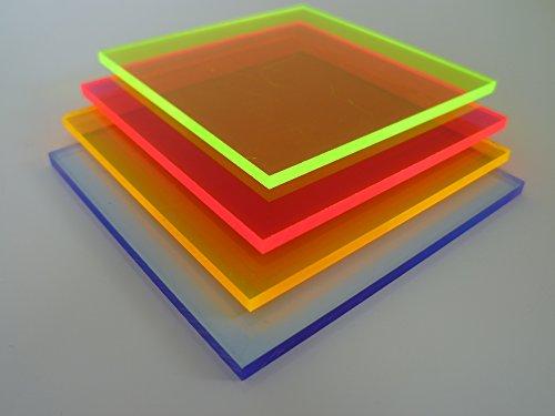 B&T Metall PMMA Acrylglas GS BLAU fluoreszierend glatt 3,0 mm stark UV beständig beidseitig foliert im Zuschnitt Größe 20 x 20 cm (200 x 200 mm)