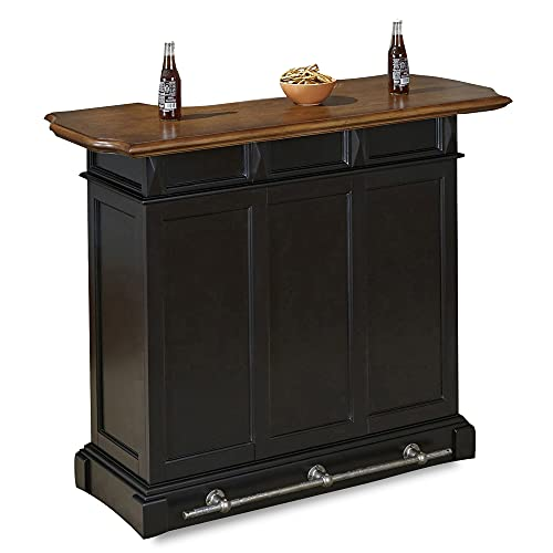 homestyles Americana Black Bar with Wood Top