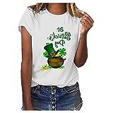 BURFLY Frauen St. Patricks Day Green O-Neck Kurzarm Tank Top T-Shirt Bluse Tuniken Frühling Sommer Mode Sexy Damen Shirt Lose Casual Weiß Frisch Elegant Women Tops