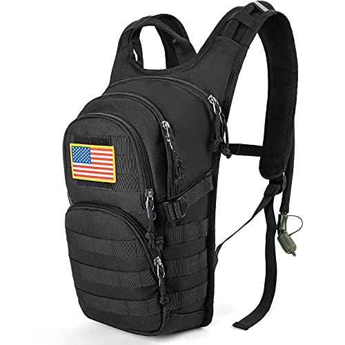 SHARKMOUTH Tactical Molle Hydration Pack Backpack with 2L BPA Free Leak-Proof Water Bladder, Great Storage and Comfortable Military Daypack for Hiking, Running, Cycling, Hunting & Working Out, Black