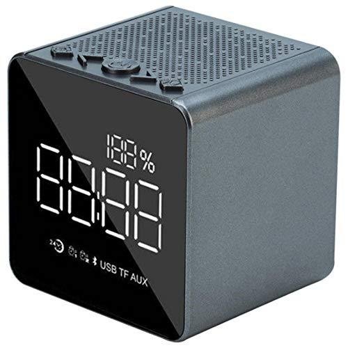 FPRW Mini-wekker, draadloos, Bluetooth, kantoorklok, kleine kaart, geluid, spiegel, met intelligente demping van de MP3-radio, groen