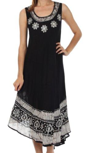 Sakkas A900 Batik Blume Kaftan Kleid/Cover Up - Schwarz/Weiß - One Size