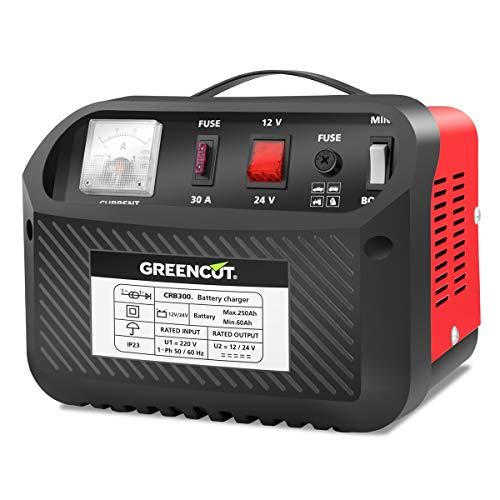 GREENCUT CRB300 - Cargador de batería de coche y moto multifunción de 12V/24V y 30A, cargador con opciones de Carga Rápida y Normal