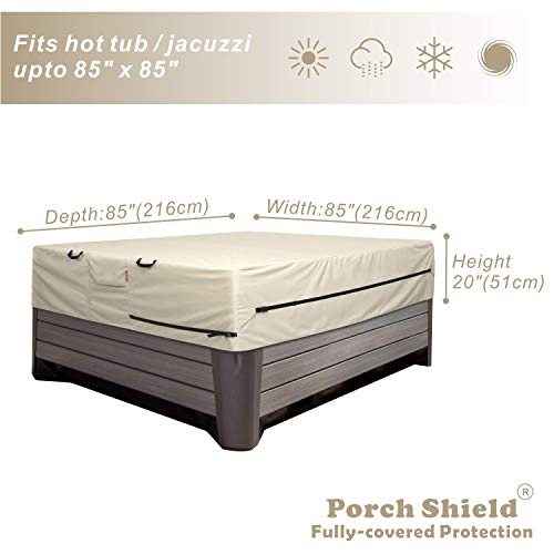 Porch Shield Square Hot Tub Cover - Waterproof Outdoor SPA Hard Cover Protector 85 x 85 inch