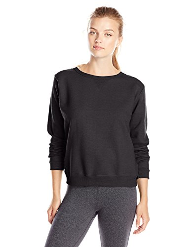 Made from a percentage of recycled EcoSmart polyester Cozy cotton blend features ribbed neckline, hem and cuffs Feminine v-notch styling detail Tagless back neck