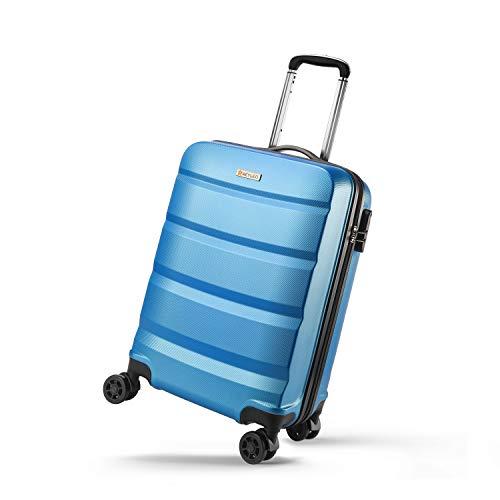 REYLEO Valigia Rigida da Viaggio Bagaglio a Mano Lucchetto a Combinazione19P/E(Colori:Blu Azzurro 55cm)
