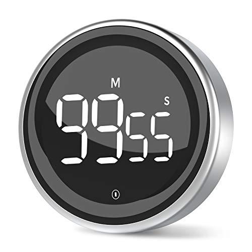 LIORQUE Digitaler Küchentimer Magnetisch Timer digital Eieruhr Kurzzeitwecker mit Rahmen aus Aluminiumlegierung, Großem LED-Bildschirm, 3-stufiger Lautstärke zum Kochen, Sport, Studium, inkl. Batterie