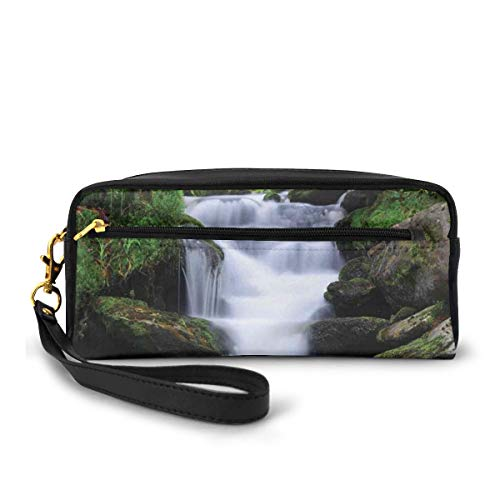 Pencil Case Pen Bag Pouch Stationary,Dream Like Image Of Waterfall With Trees And Flowers In Forest Mother Nature,Small Makeup Bag Coin Purse