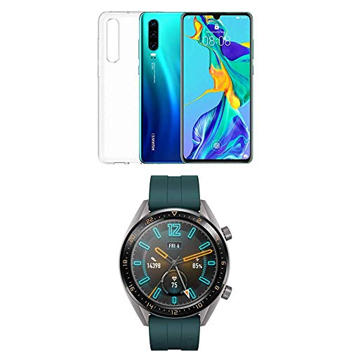 Huawei P30 (Aurora) più cover trasparente + Huawei Watch GT Active Smartwatch, Verde Scuro